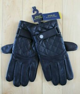 NWT Polo Ralph Lauren Men's Quilted Field Gloves Nylon Leather Black Gray M