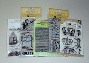Vintage Style Cling & Clear Stamp Lot - Graphic 45, Bo Bunny, Stampendous