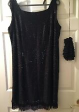 Flapper Style Dress 1920's Costume with Vintage Beaded Drawstring Purse Size 20