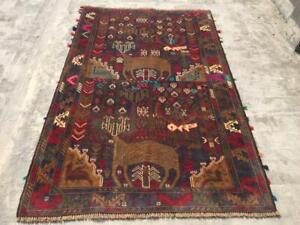 Stunning Shikargha Pictorial Tribal Afghan Carpet,Beautiful Hunting Pictorial Ru