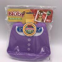 Nuby - 3D Silicone Bib Purple Shirt white Flower 6m+ On The Go Bib