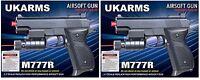 "2x UK ARMS 6"" Black Airsoft Pistol Handgun Gun Laser & BBs 135fps Air Soft M777R"