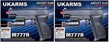 "2x UK ARMS 6"" Black Airsoft Pistols Handguns Guns Laser +1000 BBs Air Soft M777R"