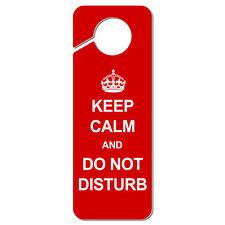 Keep Calm and Do Not Disturb Red Plastic Door Knob Hanger Sign