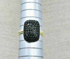 Vintage Sterling Silver Ring Gold Wash Black Spinel Gift Art Deco Size P #H106