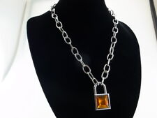 Padlock Pendant Charm 50cm Oval Link Chain Necklace with 2 Keys (Amber Color)