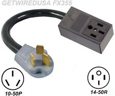 NEW FEMALE 14-50R 4-PRONG RECEPTACLE to OLD MALE 10-50P 3-PIN PLUG STOVE ADAPTER