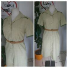 Vintage 1970s 70s Olive Green Utility Shirtwaister Midi Dress Size 14