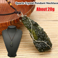 Melting Moldavite Crystal Gemstone Quartz Pendant Necklace Specimen healing