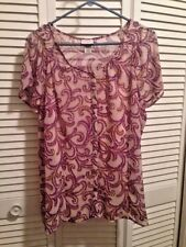 Sheer Purple Taupe Woman's Blouse Camisole Attached Butterfly Sleeves Size XL