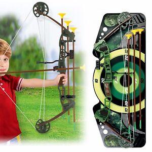Kids Bow & Arrow Set With Arrows Target Hunting Toy Gun Archery Shooting Boys