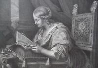 SAINT CATHARINE Reading Manuscript after Carlo Dolci - 1854 Antique Print