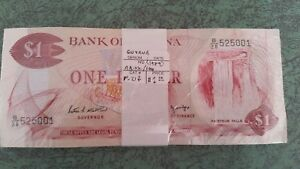 Guyana 1 Dollar  ND. 1989  P 21f  Unc. Full Pack of 100 Unc. Banknotes