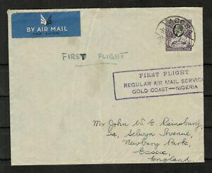 Gold Coast 1937 First Flight Cachet Gold Coast - Nigeria to England #4711