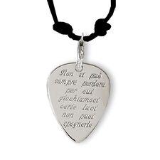 Ciondolo plettro in argento con incisione frase personalizzata