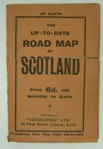 VINTAGE GEOGRAPHIA ROAD MAP OF SCOTLAND MOUNTED ON CLOTH
