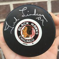 Ted Lindsay #7 AUTOGRAPHED SIGNED Chicago Blackhawks LOGO PUCK AUTOGRAPH