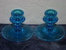 Pair of Fostoria Vesper Candlesticks  Blue