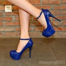 13.5cm Vogue womens stiletto high heel platform pumps party ankle strap shoes SY