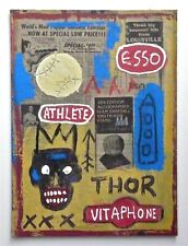 BASQUIAT -- A SIGNED 1980s EXPRESSIONIST ORIGINAL MIXED MEDIA PAINTING COLLAGE