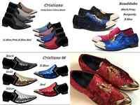 New Men Metal Toe Dress Shoes Rhinestone Diamond Loafers Slip On Classic