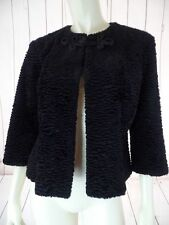 OXFORD STLYE LAB Coat S-M Black Faux Fur Hook Eye Frog Closure 50's RETRO STYLE!