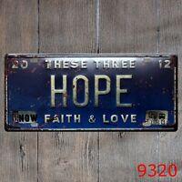 Metal Tin Sign hope faith love Decor Bar Pub Home Vintage Retro Poster Cafe ART
