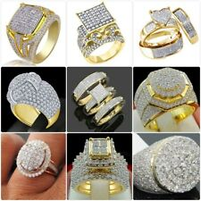 Gorgeous 18K Yellow Gold Filled White Sapphire Rings Men Women's Wedding Jewelry
