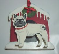 NEW CHRISTMAS TREE ORNAMENT XMAS WOODEN DOG CANINE WOOD HOUSE BOSTON TERRIER