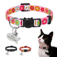 Personalized Breakaway Cat Collars with Quick Release Buckle&Bell Safe 8.5-11.5""