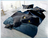 3D Black Cat Printing 3-Piece Polyester Bedding Sets Duvet Cover Queen King