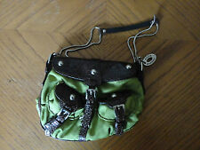 STEVE MADDEN SMALL GREEN PURSE CLUTCH BROWN FAUX LEATHER TRIM BUCKLES SNAPS