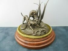 1977 Don Polland Studios Miniature Bronze-Limited Ed. 11/250-Hound Dogs w/Turtle