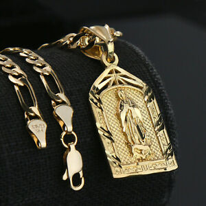 "Virgin Mary Temple 14k Gold PT Brass Pendant 18"" Figaro Necklace Choker Chain"