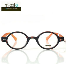 "MIASTO ""CIAO ITALY"" SMALL RETRO ROUND OAVL READER READING GLASSES +2.50 TORTOISE"