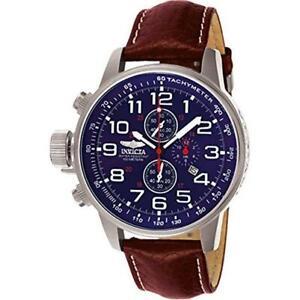 Invicta Homme I-Force Gaucher Chronographe 100m Acier Inoxydable Cuir Watch 3328