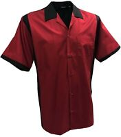 Rockabilly Fashions Men's Shirt Retro Vintage Bowling 1950 1960 Red Black S-3XL