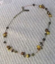 Beads & Tiger's Eye Chips Vintage Umtha Beaded Necklace With Glass