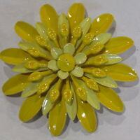 """Vintage Flower Power Brooch Enamel Metal Yellow 5 Layer 2.5"""""""