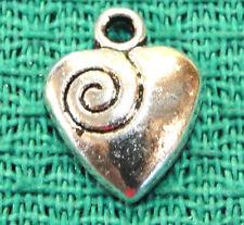 10Pcs. Tibetan Silver HEART w/ Swirl Charms Pendant Earring Drops Findings H31A