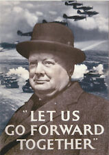 ROBERT  OPIE  ADVERTISING  POSTCARD  -  CHURCHILL  -  FORWARD  TOGETHER