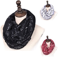 Musical Note Print Womens Fashion Scarf Infinity Ladies Neck Scarves Shawl gift
