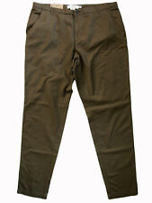 """H&M LOGG """"Relaxed"""" mid rise 100% cotton chinos pants olive Eur 44 16x32 NWT!"""