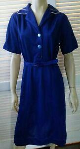 HANDMADE VINTAGE ladies size 12 dress blue with white trim matching belt retro