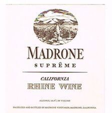 1930s California MADRONE SUPERME RHINE WINE label