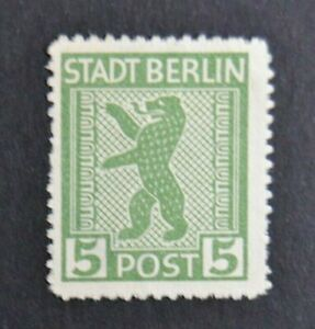 Stamp Germany 1945 Bear STADT BERLIN Soviet Zone 1B/11N1a Rouletted Perforation
