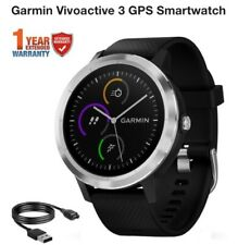 Garmin Vivoactive 3 Black Silicone Stainless Gps Watch Brand New In Sealed Box