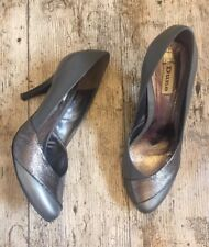 Gorgeous DUNE Court Shoes Heels ~UK Sz 6~ Almond Toe ~ Grey Leather With Silver