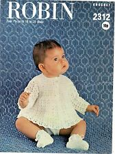 Robin 2312 Vintage Baby Crochet Pattern 4 ply dress bootees bonnet 0-18 months