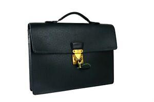 Auth Louis Vuitton Green Taiga Serviette Kourad Briefcase Business Hand Bag Used